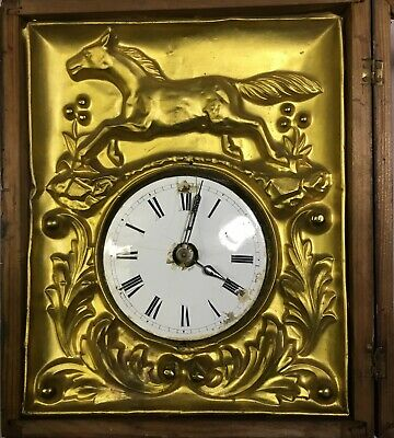 Horse Wall Clock With Porcelain Dial And Aluminum or Brass Scene