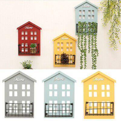 House Shaped Floating Wooden Wall Hanging Shelves Storage Display Decor DIY Gift