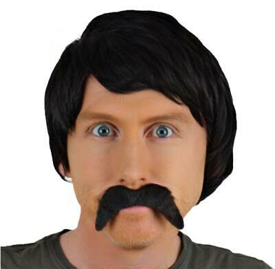 Black Short Wig & Thick Droop Fancy Dress Self Adhesive Mustache.