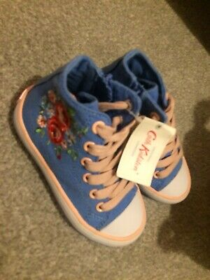 Cath Kidston Girls Floral High Top Trainers Shoes Bnwt Lace Zip Denim Size 7