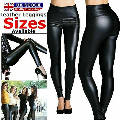 Ladies High Waist Look Shiny Stretchy Tight Pant Black Faux Wet Leather Leggings