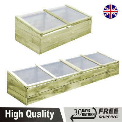 FSC Wooden Greenhouse Cold Frame Garden Flower Planting Box Growhouse 2 Size UK