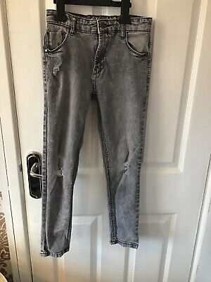 Boys Next Ripped Skinny Grey Jeans Age 10