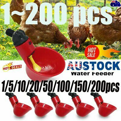 Automatic Cups Water Feeder Drinker Chicken Waterer Poultry Chook Bird NEW AT