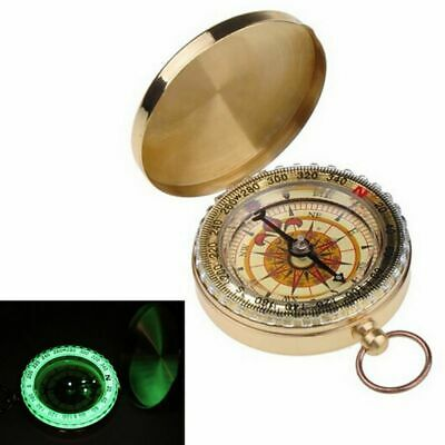 Vintage Brass Dalvey-Style Pirate Gold Compass with Lid Outdoor Pocket Compass