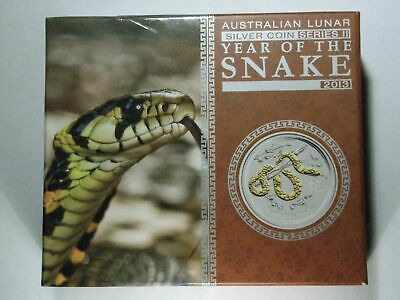 1 oz Silver Lunar Perth Mint Gilded 2013 Year of the Snake, box, outer box, COA
