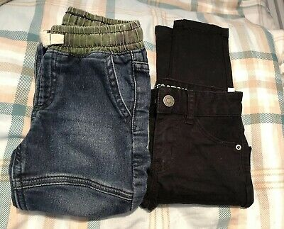 Baby Boys X2 Denim Trousers In Black And Blue. 1.5 -2 Years. Gap & H&M Brand
