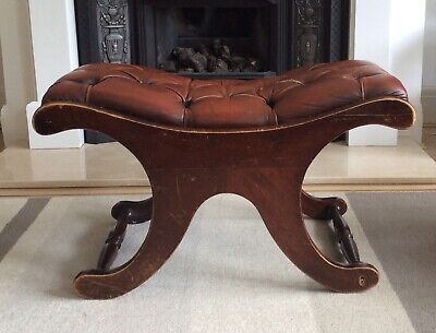 Vintage Leather Saddle Chesterfield Footstool Pouffe Slipper