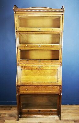 Antique Tall Oak Globe Wernicke Style Barristers Bureau Bookcase By Lebus C.1900