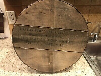 "Vintage Antique Round 14+ "" Round Wood Bentwood Pantry Cream Cheese Box  ""A&P"""