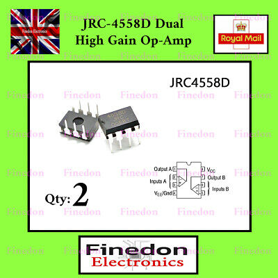 2 Qty JRC-4558D 4558 DUAL OP-AMP IC UK Seller