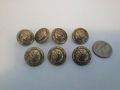 Vintage 7 buttons Medieval Coat of Arms Crown with Unicorn