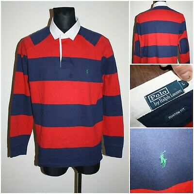 RALPH LAUREN POLO Mens size LARGE (custom fit) Long sleeve Rugby Shirt / T-shirt