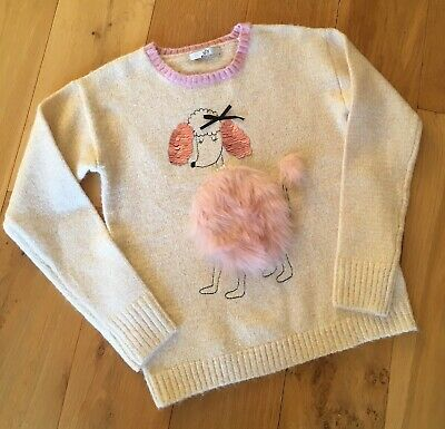 Girls Jumper 11-12yrs Brand New Fluffy Fur Sequins Poodle Dog Pale Pink Sparkly