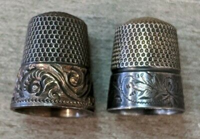 Two Antique Sterling Silver Thimbles - Floral Hand Engraved - 9.8 Grams of .925