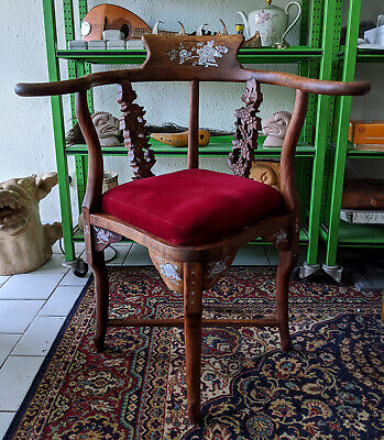 Stuhl / Sessel - Roter Bezug / Perlmutt Intarsien - Asia Arm Chair Nacre Inlay
