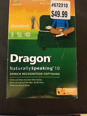 Nuance Dragon Naturally Speaking 10 Standard Edition Used in box complete