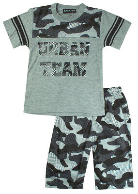 Boys Vest Shorts Tank Outfit Army Camo Zip Urban Team Kids Set 2 to 14 Years