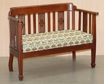 William Morris For Liberty's London Upholstered Vintage Two Person Bench Sofa