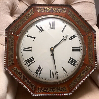 19th CENTURY REGENCY DIAL BRASS INLAID FUSEE  WALL CLOCK approx 450mm diameter