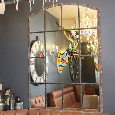 HUGE INDUSTRIAL CAST IRON ARCHED MIRROR antique factory window