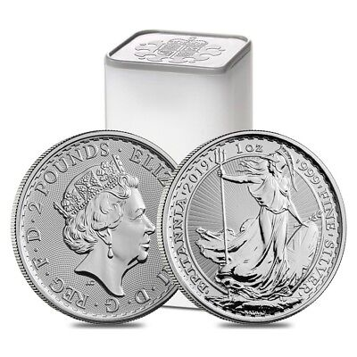 Roll of 25 - 2019 Great Britain 1 oz Silver Britannia Coin .999 Fine BU