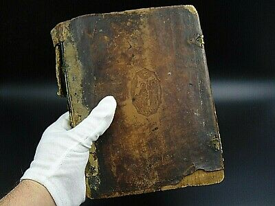 Antique 19th prayer book Russian Orthodox religious leather & wood