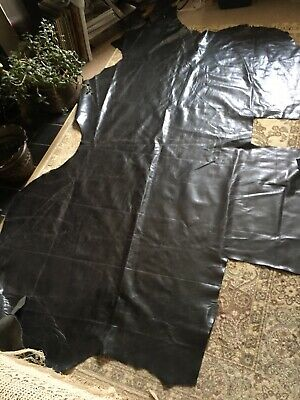 LARGE  LEATHER ITALIAN HIDE Black Superb Soft Quality