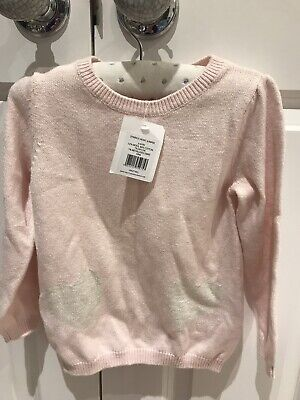 BNWT The Little White Company Girls Pink Sparkle Heart Jumper 3-4 Years