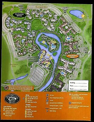 NEW 2020 Walt Disney World Port Orleans Riverside Map + 5 Theme Park Guide Maps