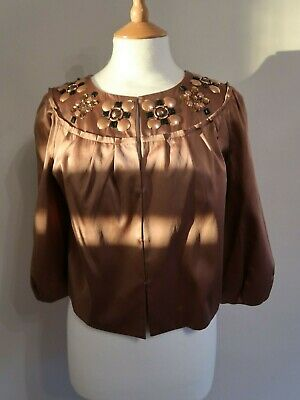 Marks & Spencer Autograph Petite Uk 12 Us 8 Eur 40 Embellished Satin Jacket Bnwt