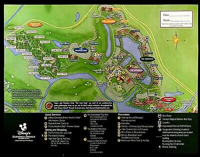 NEW 2020 Walt Disney World Saratoga Springs Resort Map + 5 Theme Park Guide Maps