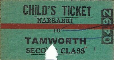 Railway tickets a trip from Narrabri to Tamworth by the old NSWGR in 195?
