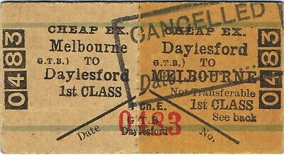 Railway ticket a trip from Melbourne to Daylesford by the old Victorian Railways
