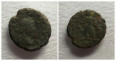 Late Roman Empire AE4 378-c. 410 AD Victory Dragging Captive and Carrying Trophy