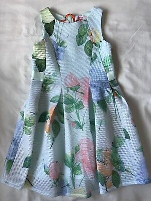 BNWT Ted Baker Girls pale green floral print dress Age 8 Year's Old
