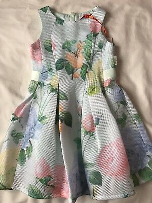 BNWT Ted Baker Girls pale green floral print dress Age 6 Year's Old