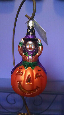 Old World Christmas Glitter Pumpkin Witch Halloween Ornament OWC - Retired