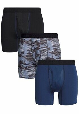 Mens Reebok Performance Underwearboxer Briefs 3Pack, Black Navy Charcoal Camo XL