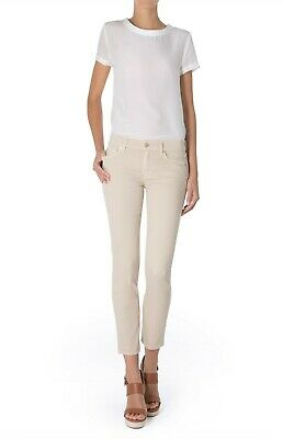 7 For All Mankind's Roxanne cropped, mid-rise jeans in beige cotton drill size 2