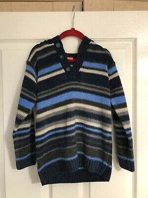 Boys BHS Duck & Dodge Blue Striped Hooded Jumper Cardigan Age 4 Years