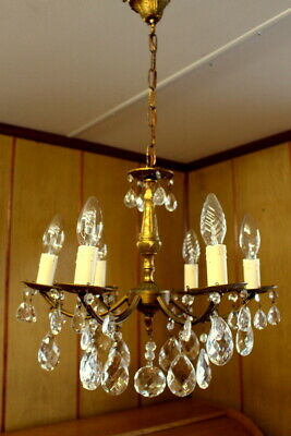 Antique French Solid Bronze Crystal Maria Teresa 6 Arms Chandelier Ceiling lamp
