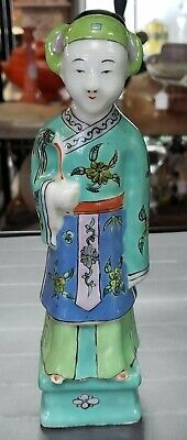 19th Century Chinese Famille Verte Enameled Porcelain Court Official Figurine
