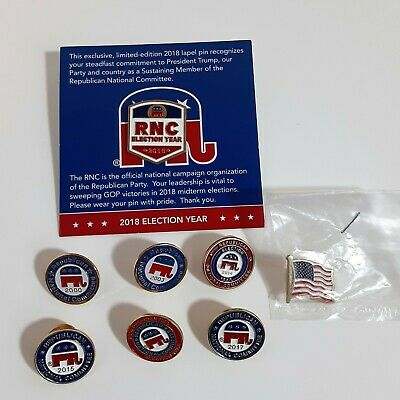 7 RNC Republican National Committee Pins 2000 2003 2014 2015 2016 2017 2018 Flag