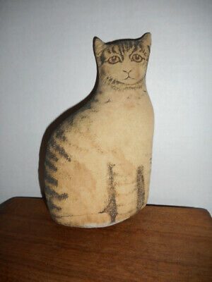 Small Antique Cloth Toy ~ Lithograph Cat ~ Primitive Kitty ~ AAFA