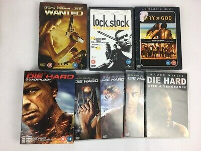 Action DVD Bundle - Die Hard Complete Set - Wanted - Lock stock - City of god
