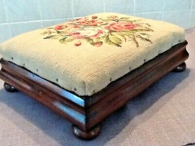 Lovely, Victorian Mahogany Foot Stool, Embroidered, Exc Condition.