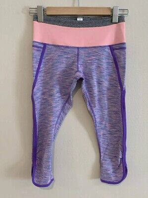 Ivivva by Lululemon Girls 14 Purple Pants Cropped Capri Athletic Gym Leggings