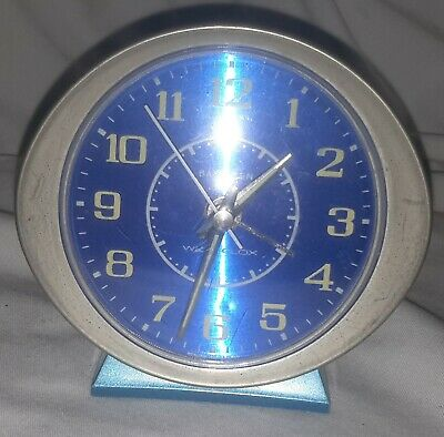 Vintage Baby Ben Westclox travel Alarm Clock Working BLUE ! Made in the USA