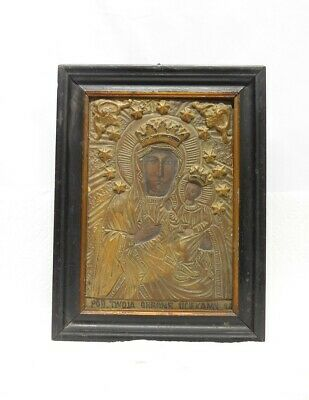 Antique Polish / Russian Eastern Orthodox Christian Madonna & Child Icon
